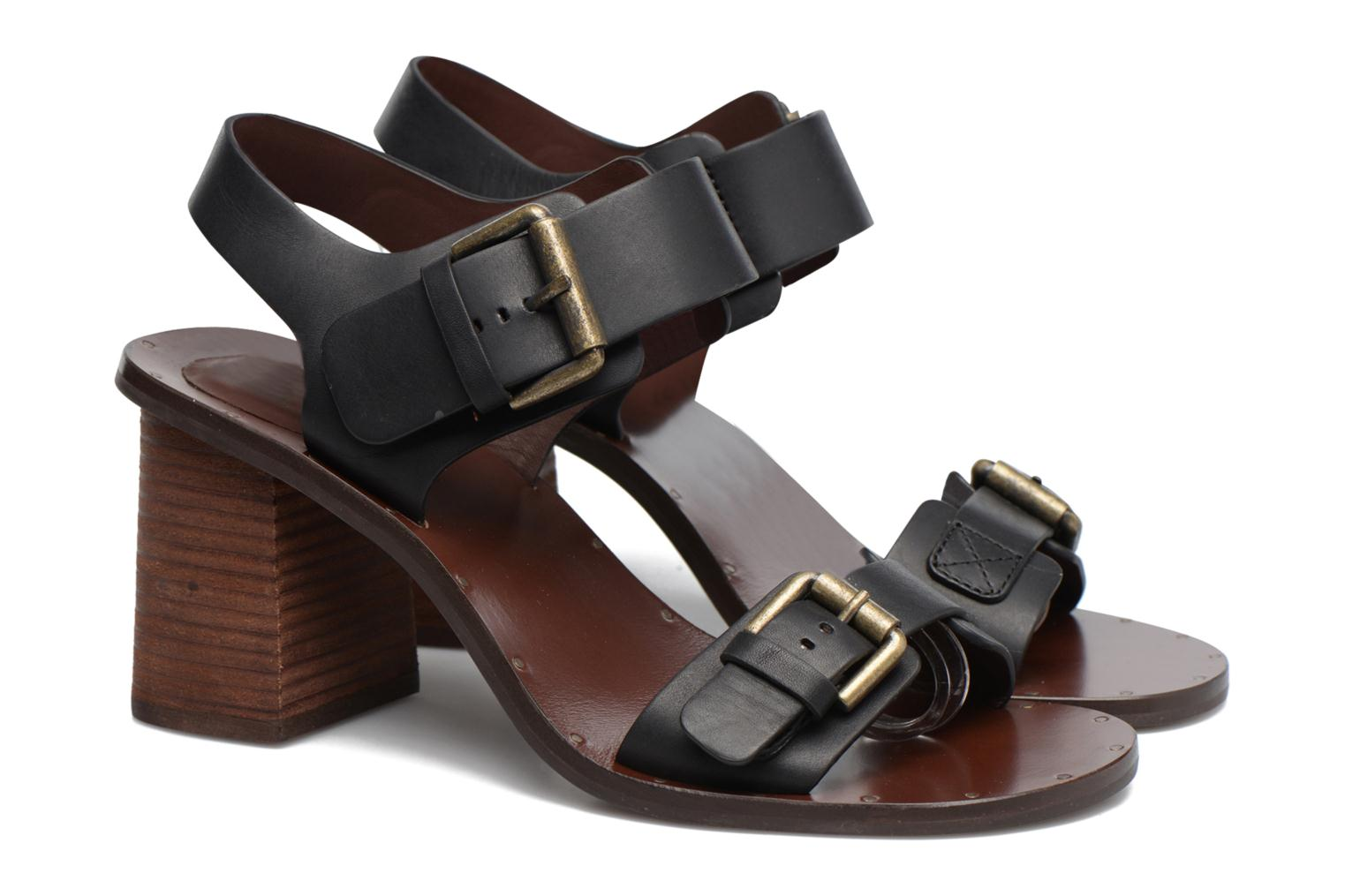 Sandals See by Chloé Romy High Black 3/4 view