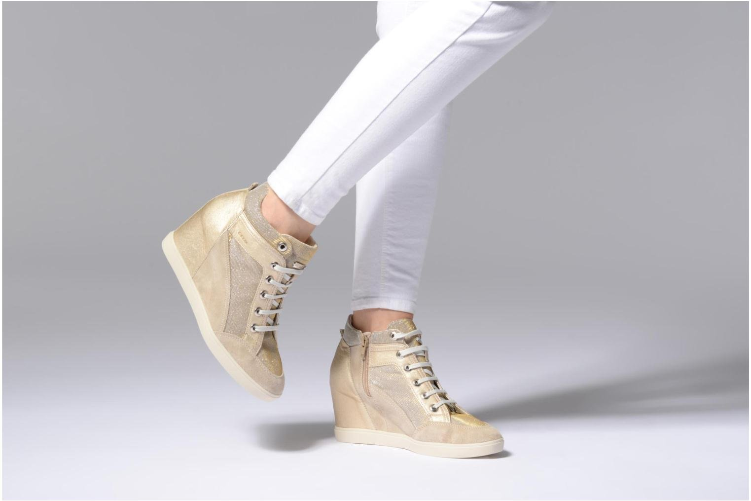 Trainers Geox D ELENI C D7267C Bronze and Gold view from underneath / model view