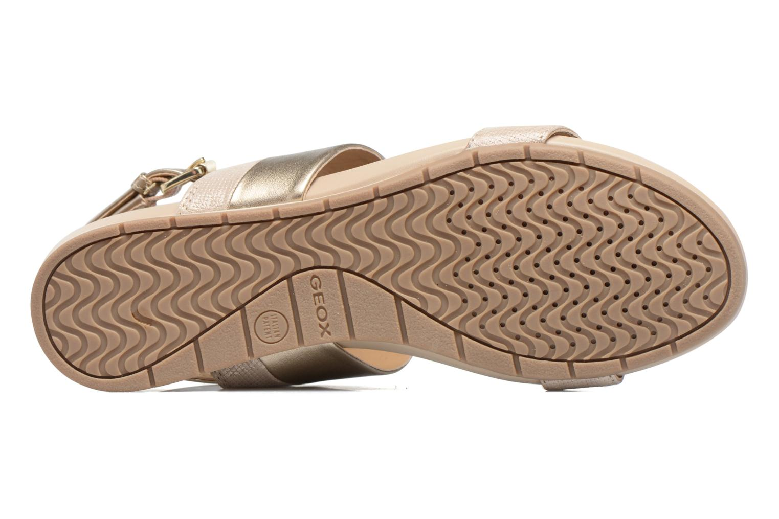 Sandals Geox D FORMOSA C D7293C Bronze and Gold view from above