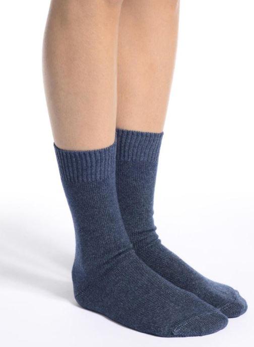 Chaussettes et collants Doré Doré Chaussettes Femme Laine et Cachemire Basique Bleu vue haut