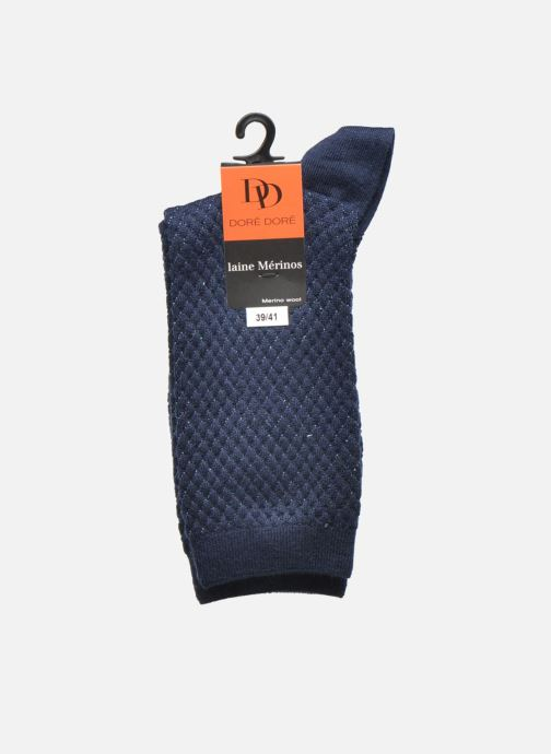 Socks & tights Doré Doré Chaussettes Femme Laine et Lurex Losanges Blue back view