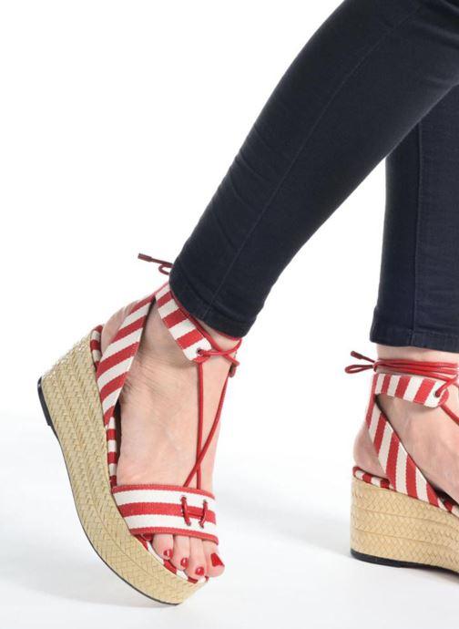 Sandalen Sonia Rykiel Sandale Plateau rot ansicht von unten / tasche getragen