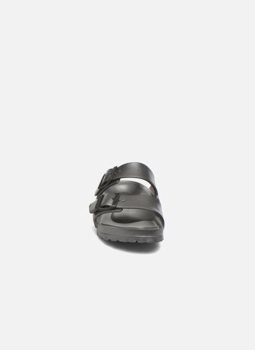 Mules et sabots Birkenstock Arizona Cuir Soft Footbed Gris vue portées chaussures