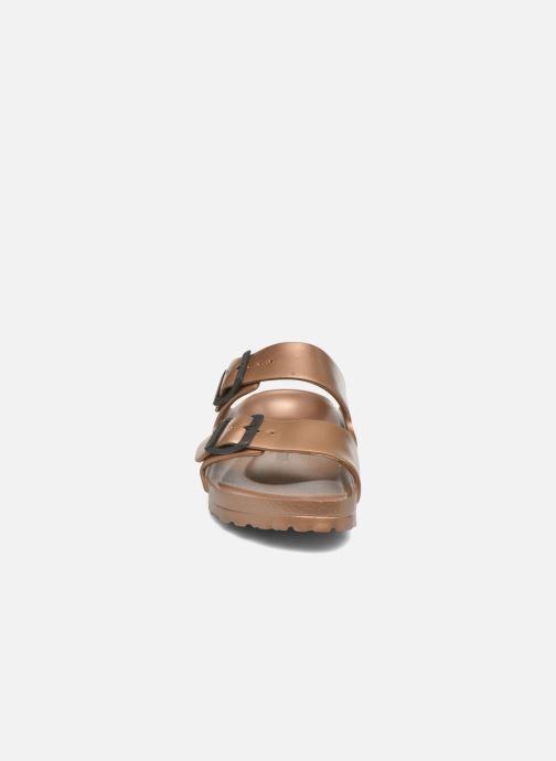 Mules et sabots Birkenstock Arizona Cuir Soft Footbed Marron vue portées chaussures