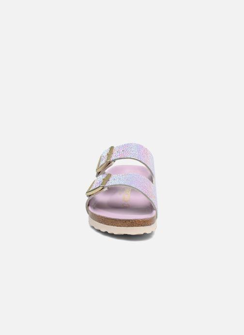 Mules et sabots Birkenstock Arizona Cuir Soft Footbed Argent vue portées chaussures