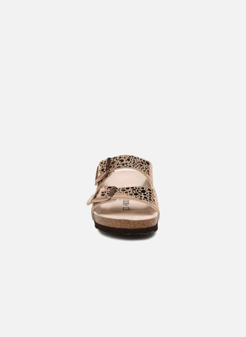 Mules et sabots Birkenstock Arizona Cuir Soft Footbed Or et bronze vue portées chaussures