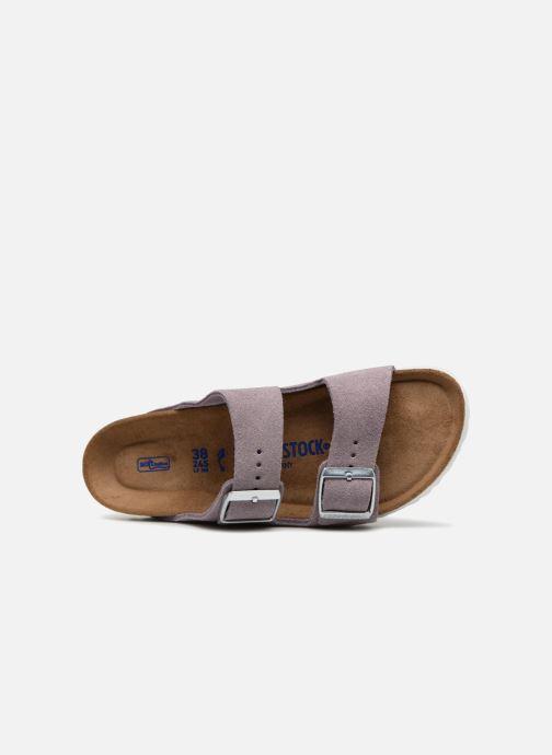 Zuecos Birkenstock Arizona Cuir Soft Footbed Violeta      vista lateral izquierda