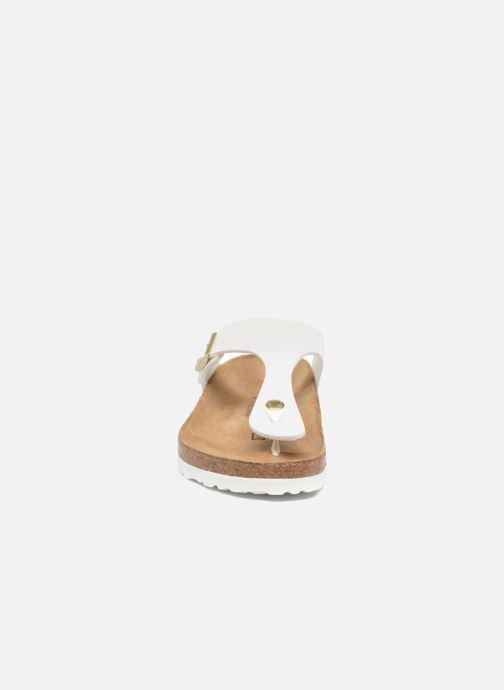 Sandalen Birkenstock Gizeh W weiß schuhe getragen