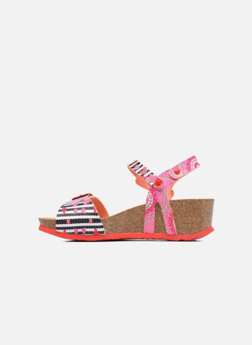 Sandalen Desigual Strips Wedge rosa ansicht von vorne