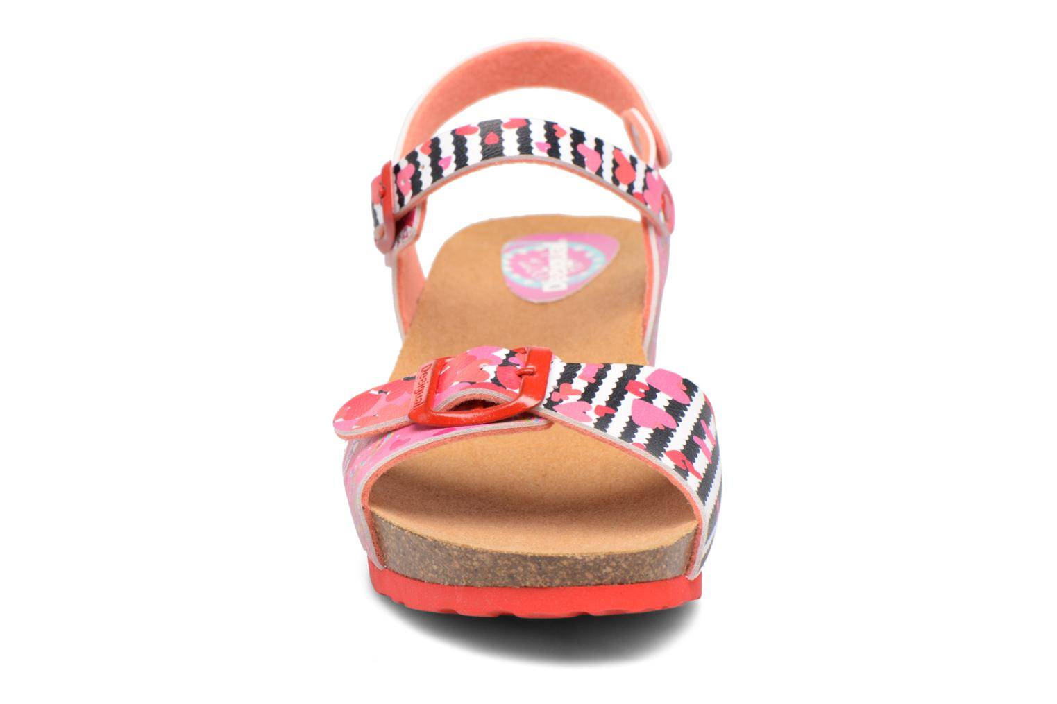 Sandals Desigual Strips Wedge Pink model view