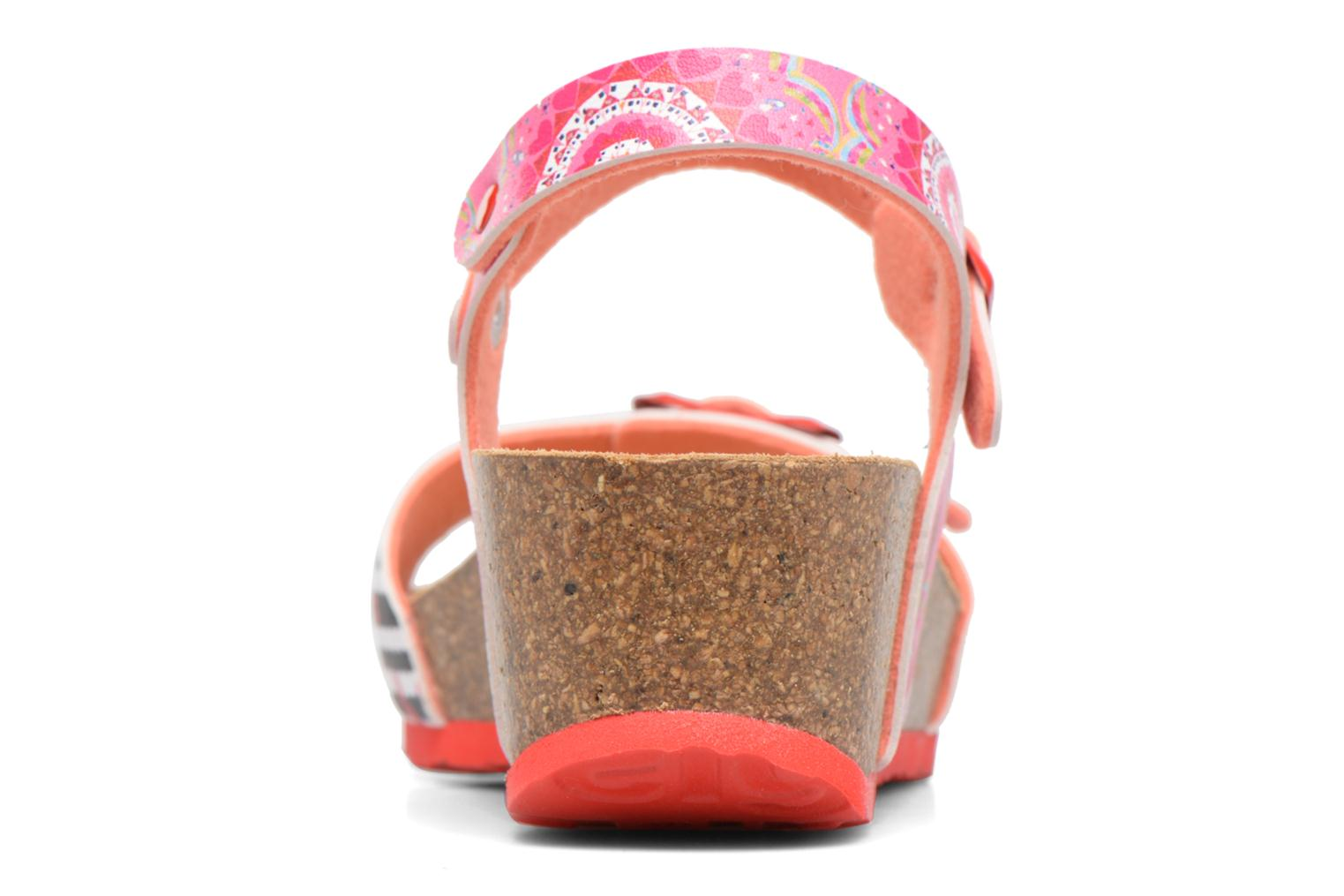 Sandals Desigual Strips Wedge Pink view from the right
