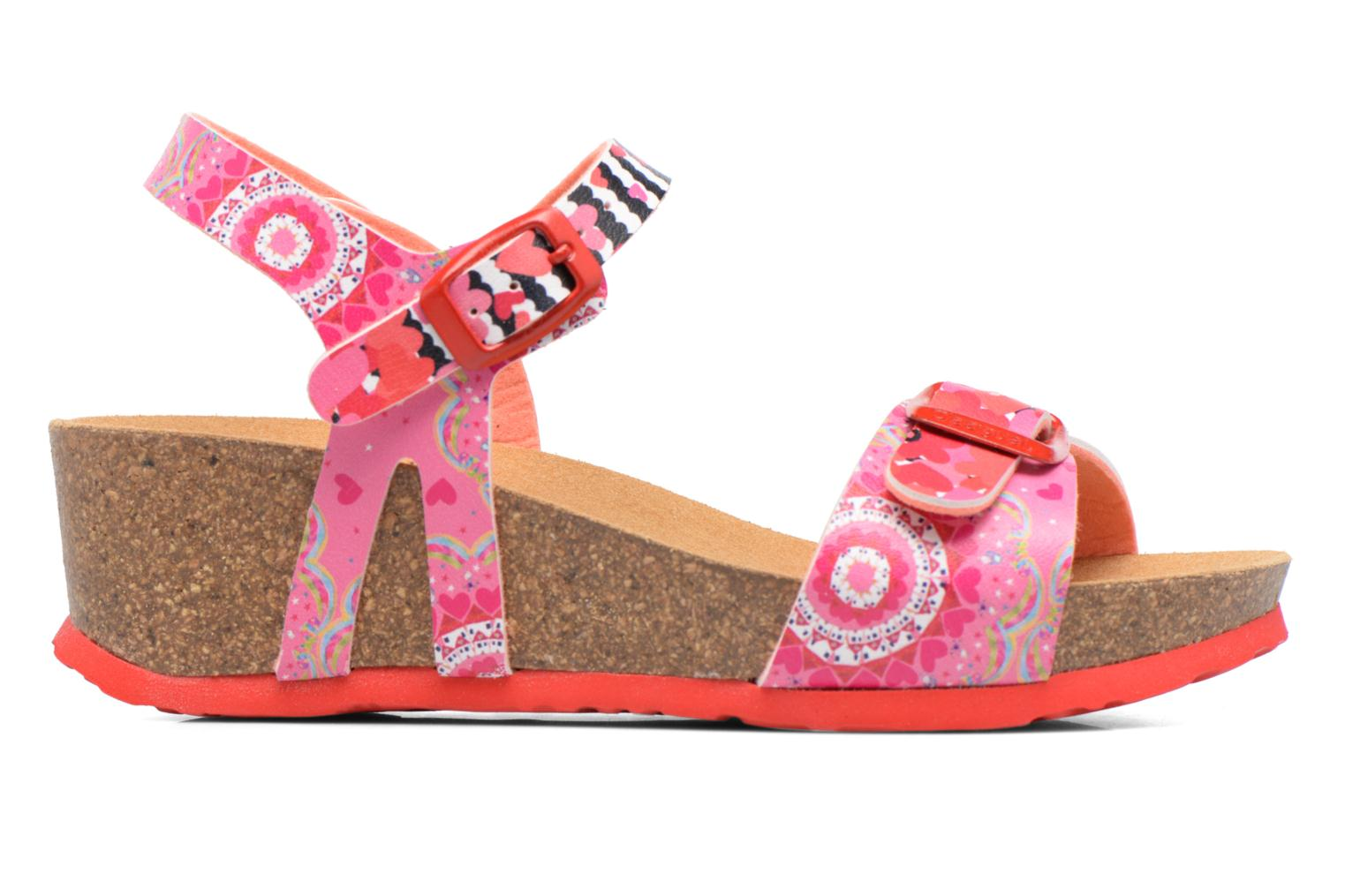 Sandals Desigual Strips Wedge Pink back view