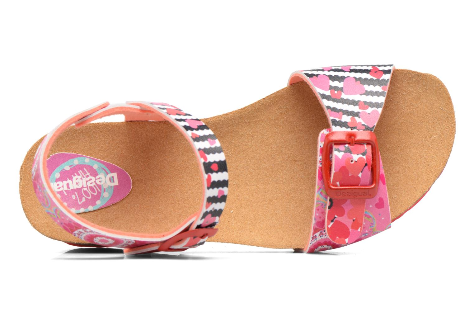 Sandals Desigual Strips Wedge Pink view from the left