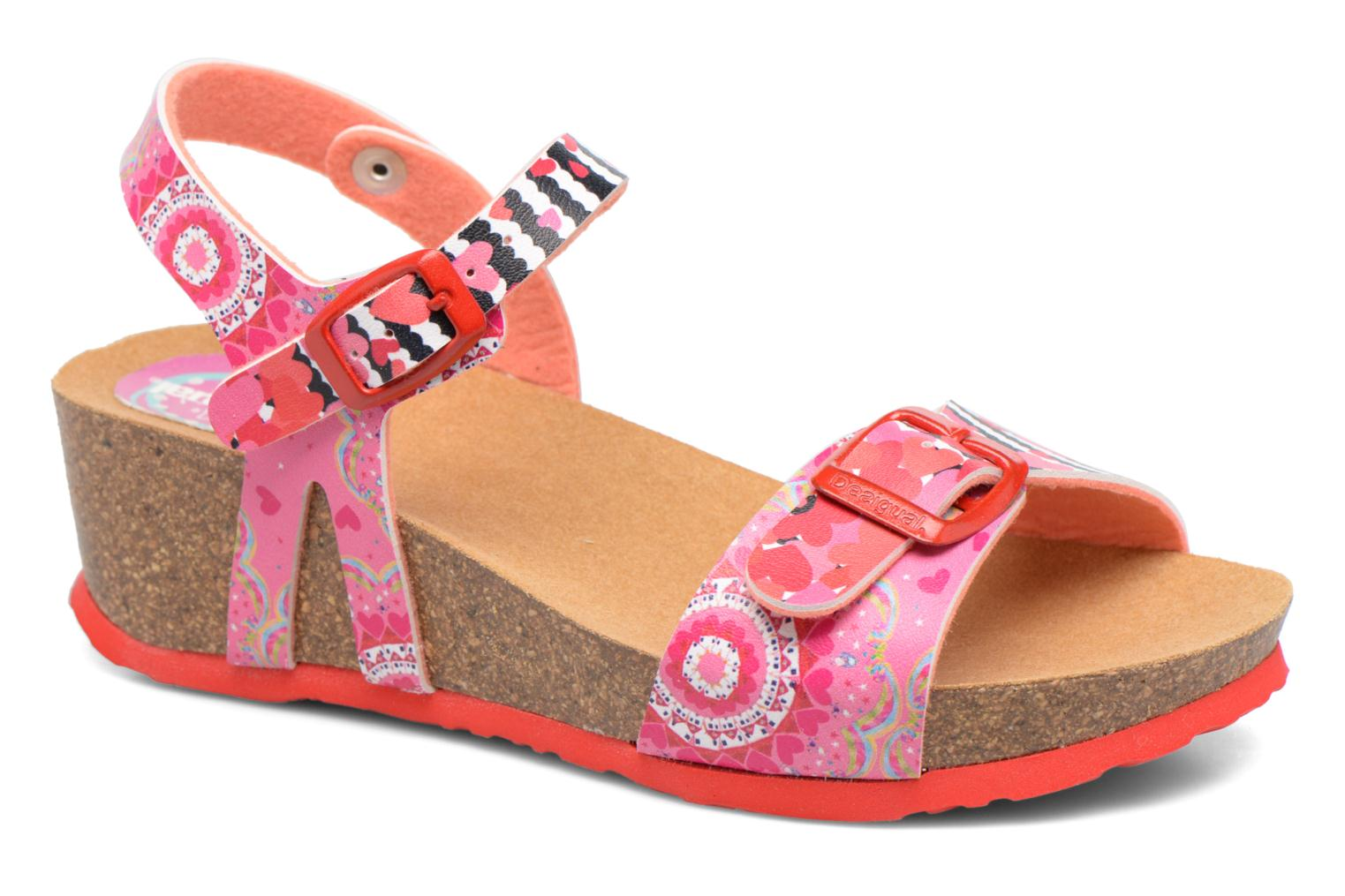 Sandals Desigual Strips Wedge Pink detailed view/ Pair view