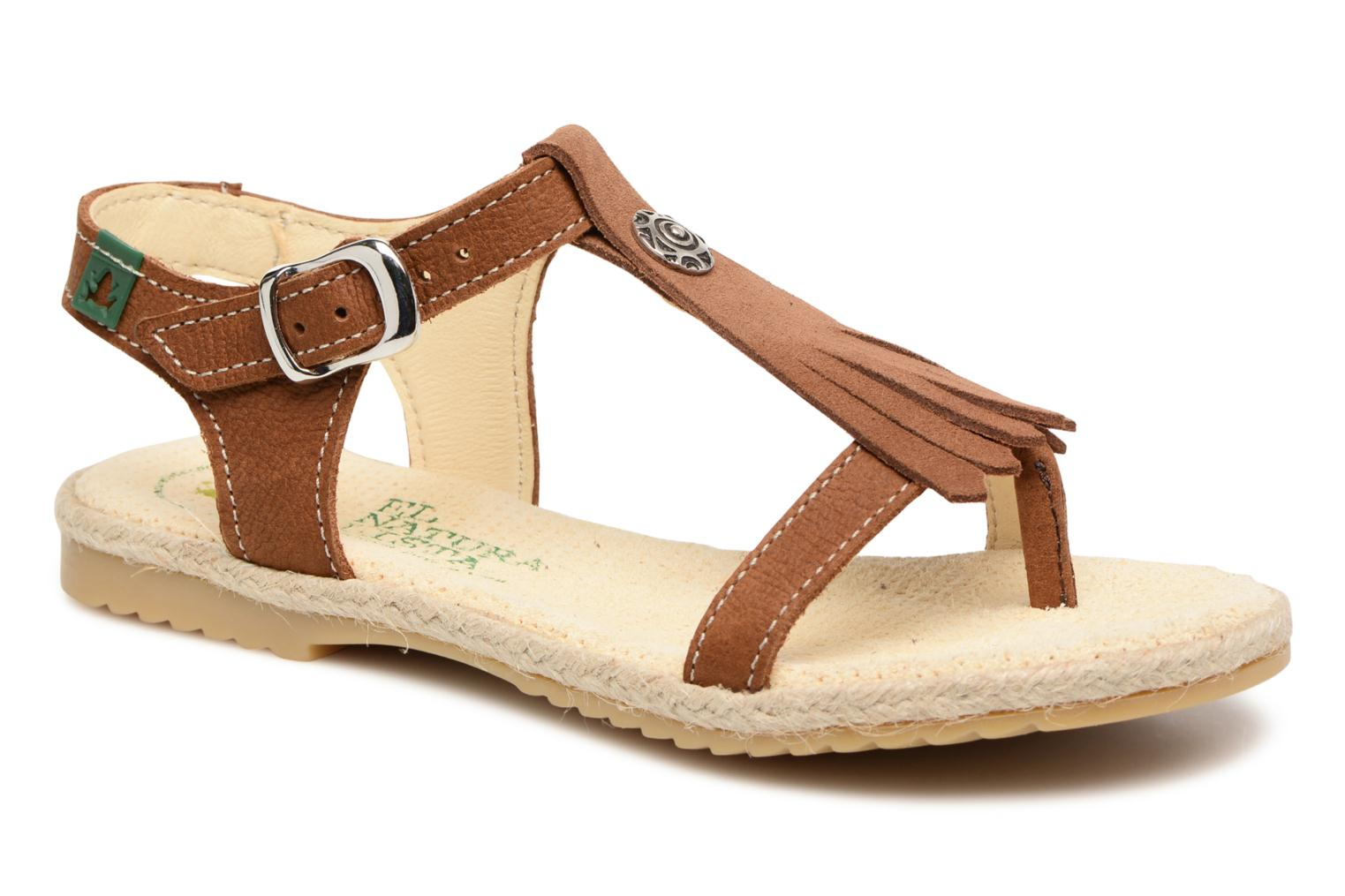 Sandals El Naturalista Samoa E116 Brown detailed view/ Pair view