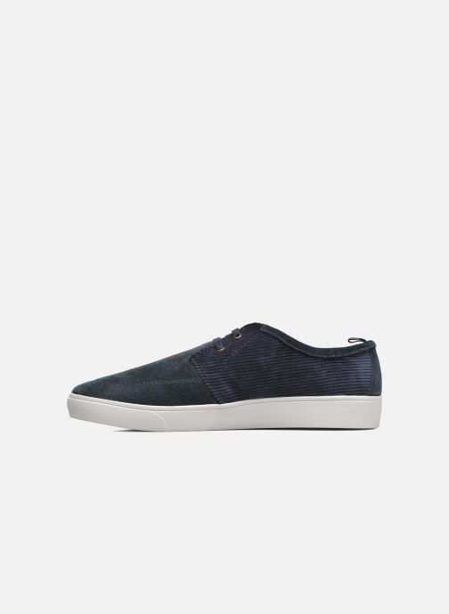 Baskets Fred Perry Shields Corduroy Suede Bleu vue face