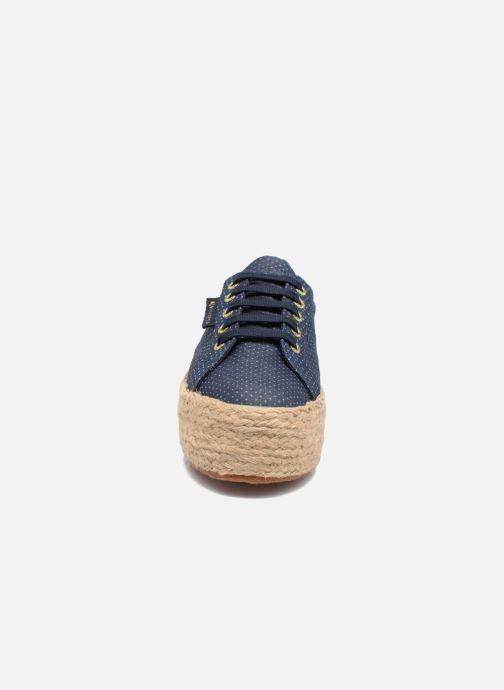 Scarpe di corda Superga 2790 Fabric Shirttrope W Azzurro modello indossato