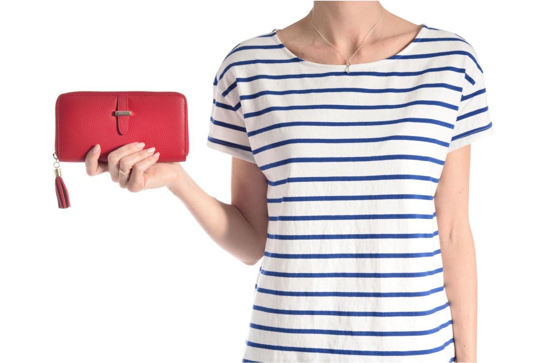 Petite Maroquinerie Le Tanneur CAPUCINE Porte-monnaie long zippé Rouge vue haut