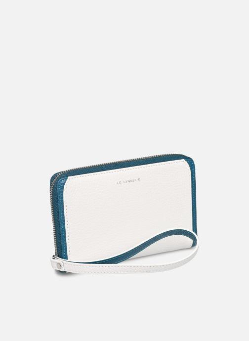 Petite Maroquinerie Le Tanneur AGATHE Porte-monnaie zippé téléphone Blanc vue bas / vue portée sac