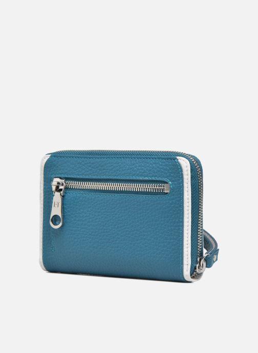 Petite Maroquinerie Le Tanneur AGATHE Porte-monnaie zippé téléphone Bleu vue droite