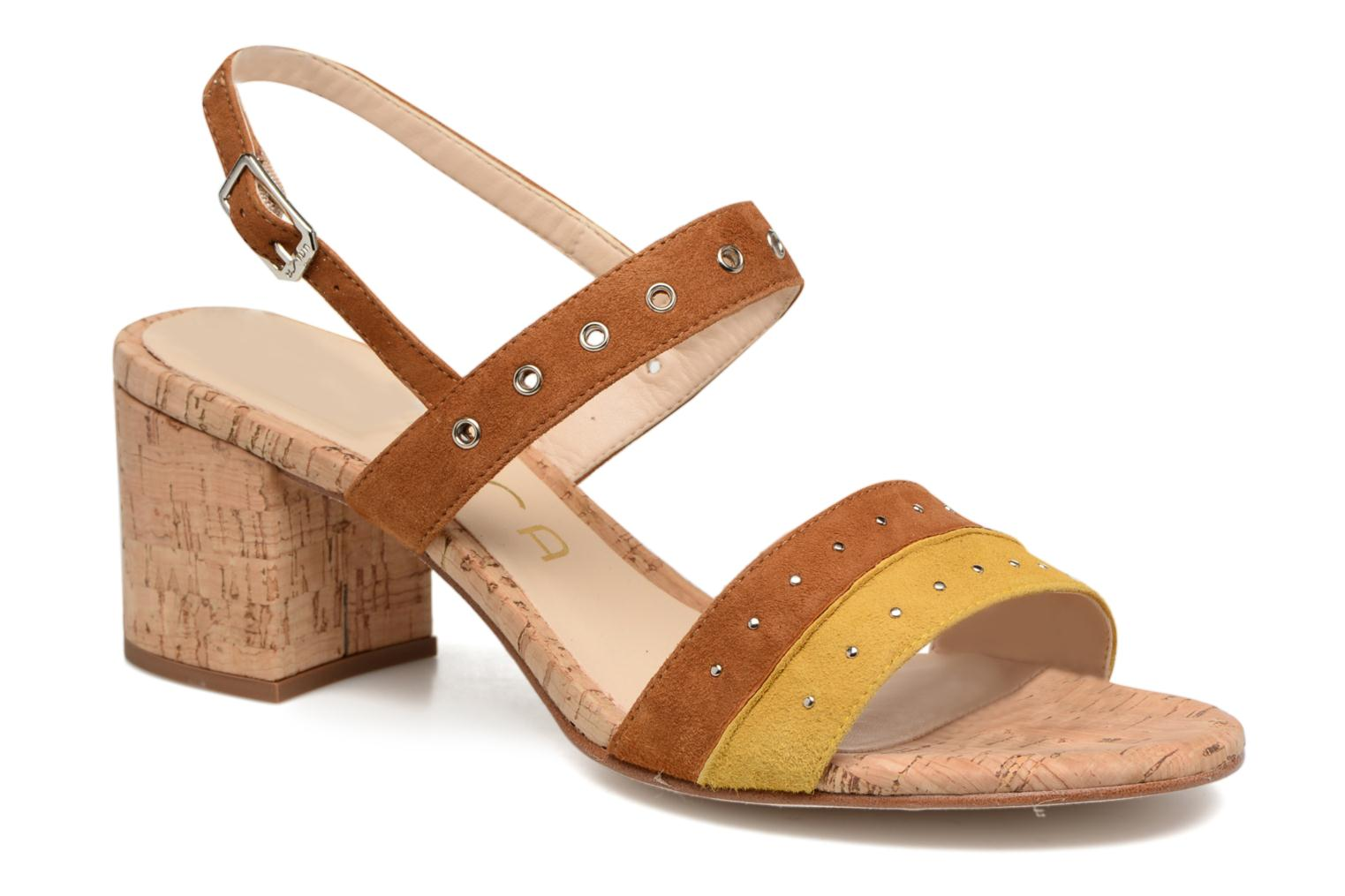Sandals Unisa Osea Brown detailed view/ Pair view