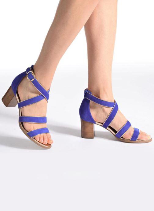 Sandales et nu-pieds Made by SARENZA Riviera Couture Sandales à Talon #8 Bleu vue bas / vue portée sac