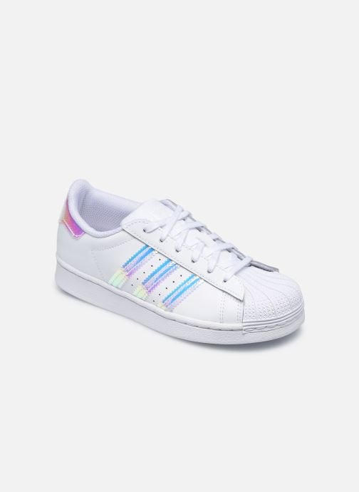 Baskets adidas originals Superstar C Blanc vue détail/paire