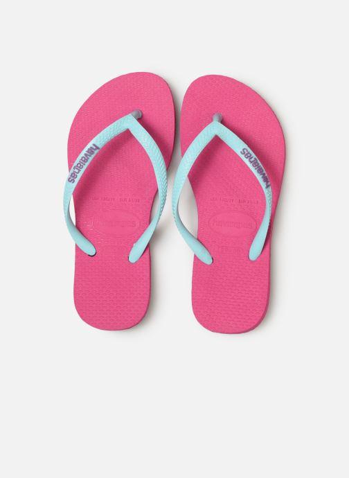 Tongs Havaianas Kids Slim Logo Rose vue portées chaussures