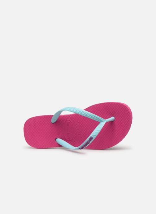 Tongs Havaianas Kids Slim Logo Rose vue gauche