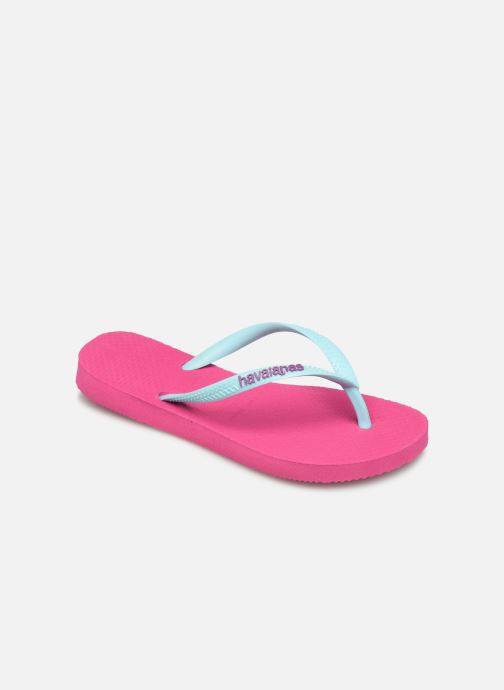 Tongs Havaianas Kids Slim Logo Rose vue détail/paire