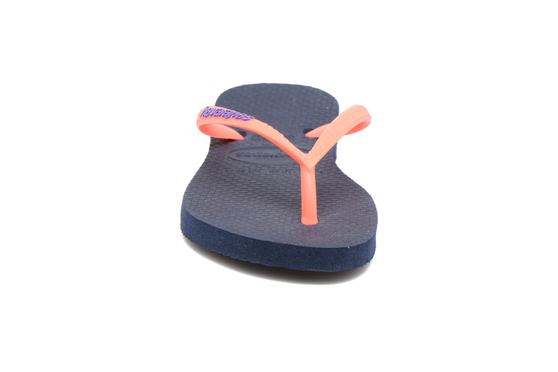 Tongs Havaianas Kids Slim Logo Bleu vue portées chaussures