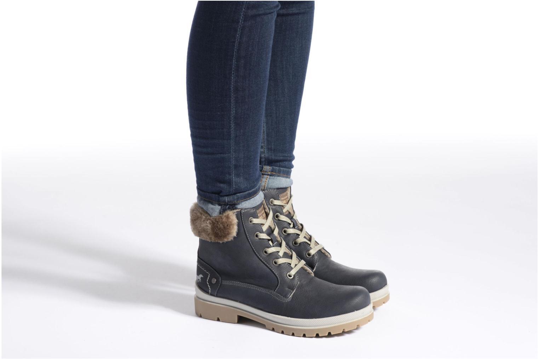 Bottines et boots Mustang shoes Aurelle Bleu vue bas / vue portée sac