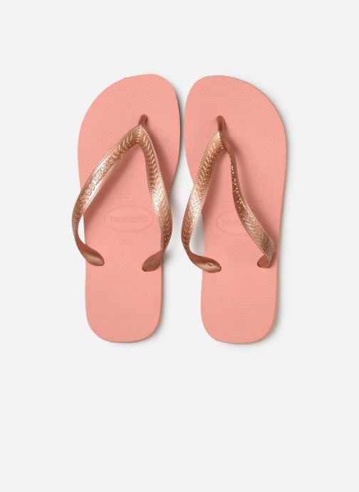 Tongs Havaianas Top Tiras Rose vue portées chaussures