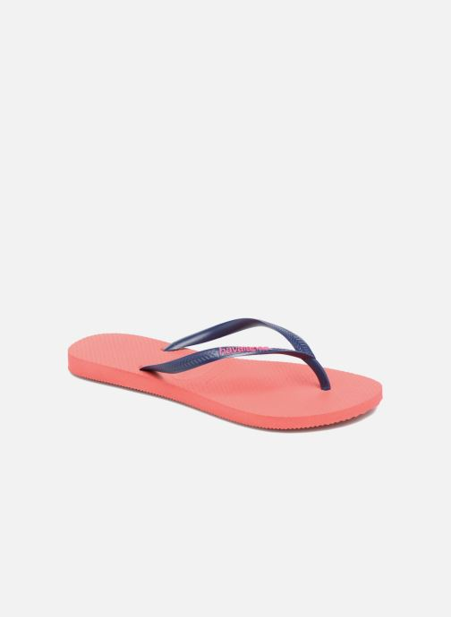 Flip flops Havaianas Slim Logo Red detailed view/ Pair view