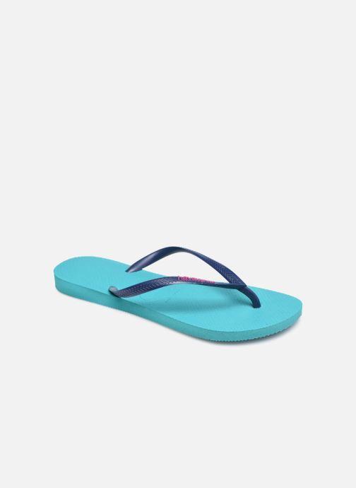 Tongs Havaianas Slim Logo Bleu vue détail/paire