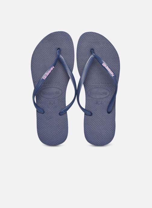 Flip flops & klipklapper Havaianas Slim Logo Blå 3/4 billede