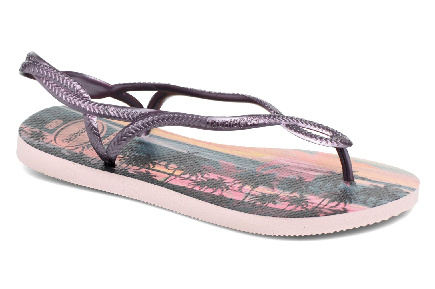 Sandals Havaianas Luna Print Pink detailed view/ Pair view