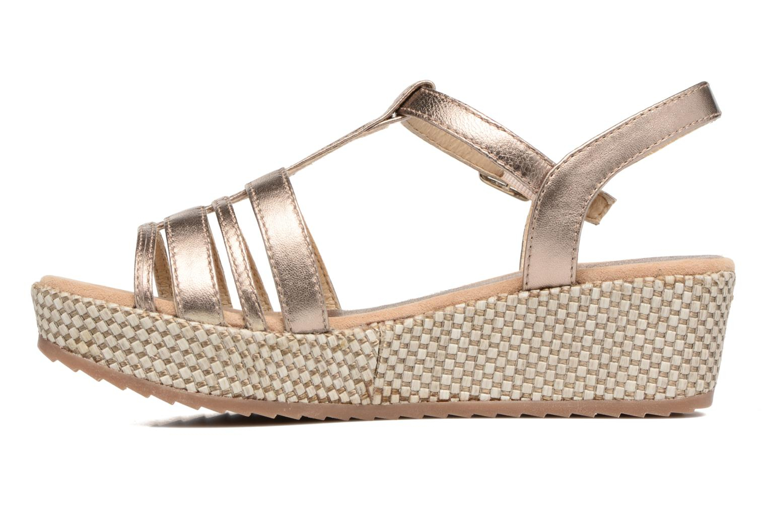 Sandals Unisa Ticor Bronze and Gold front view