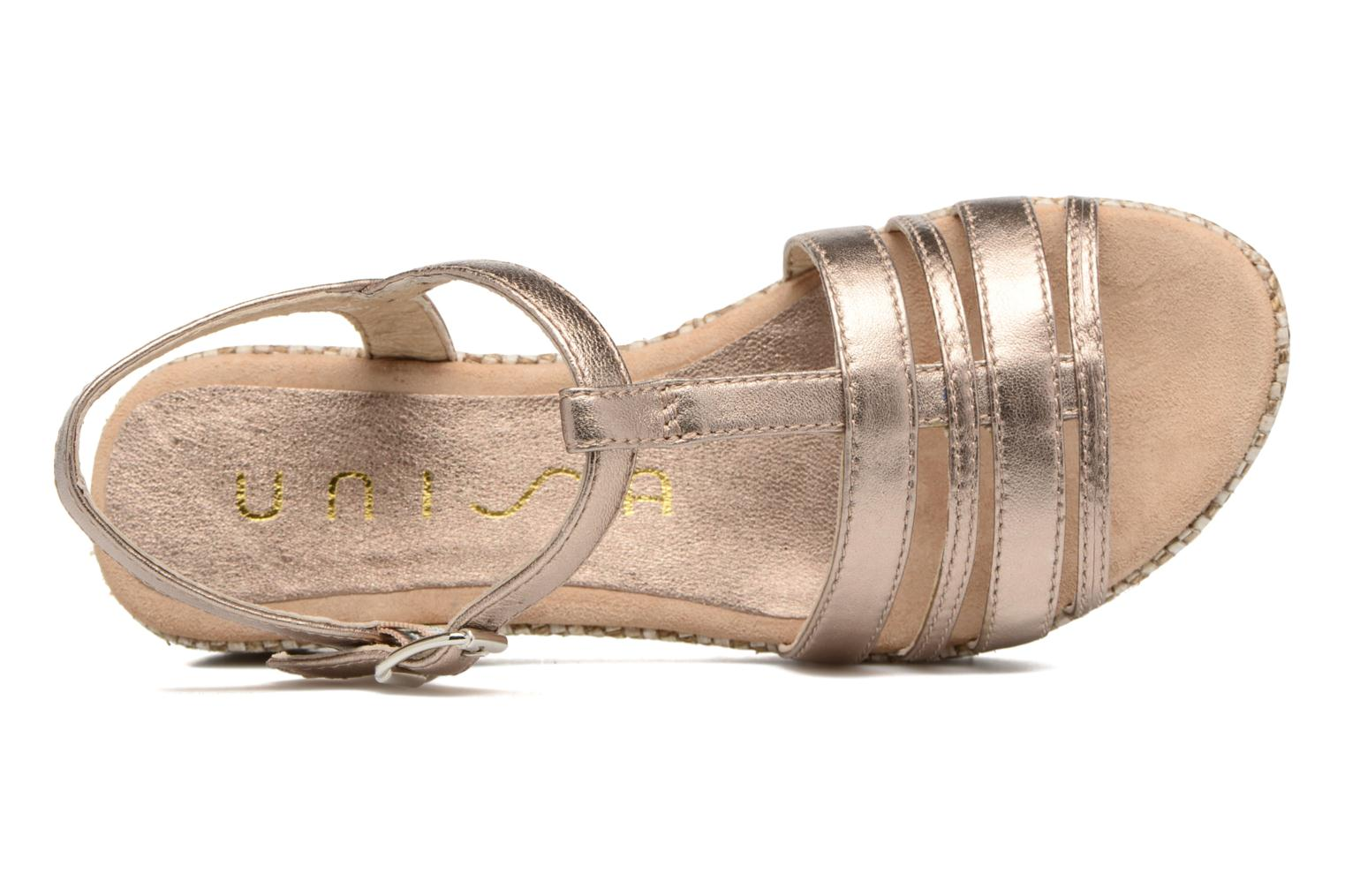 Sandals Unisa Ticor Bronze and Gold view from the left