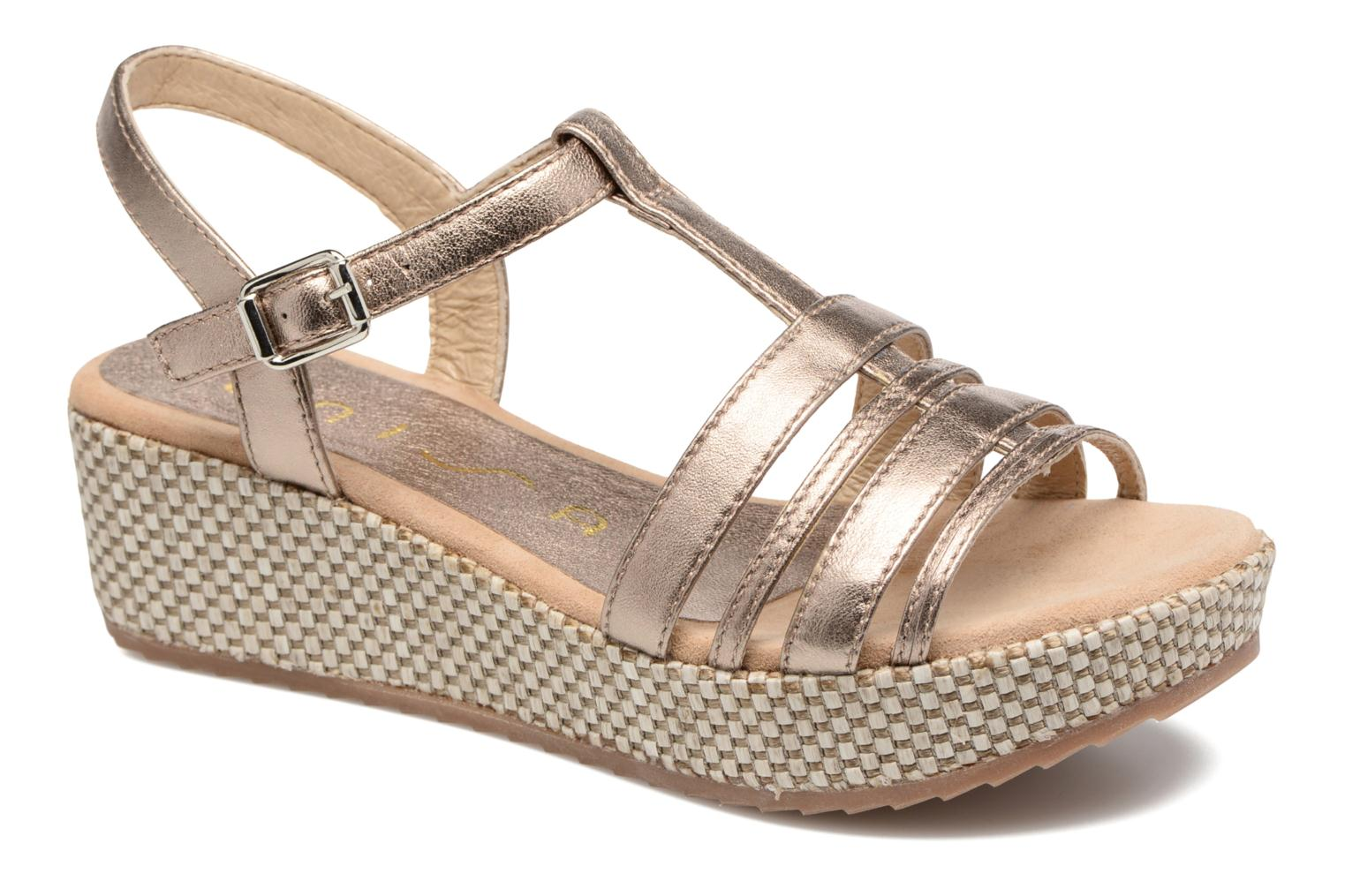 Sandals Unisa Ticor Bronze and Gold detailed view/ Pair view