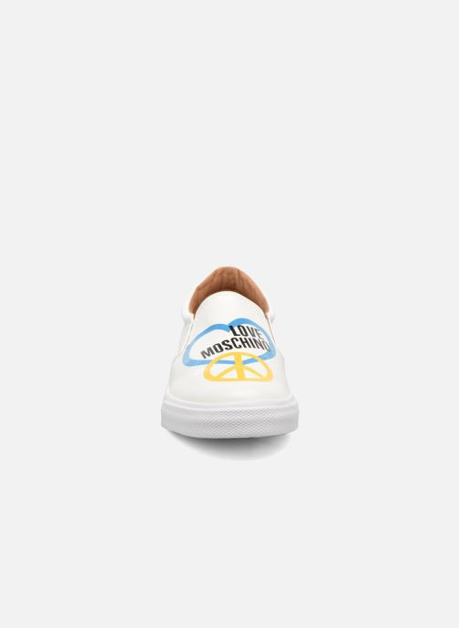 Baskets Love Moschino Cut Out Slip-On Blanc vue portées chaussures