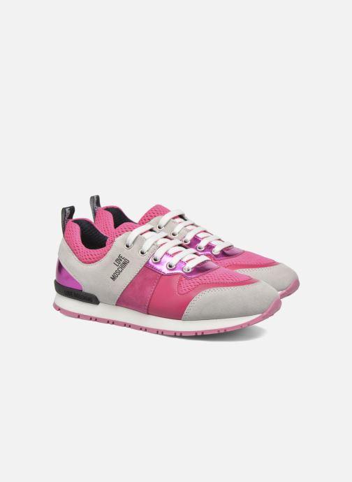 Baskets Love Moschino Sneaker Mania2 Rose vue 3/4