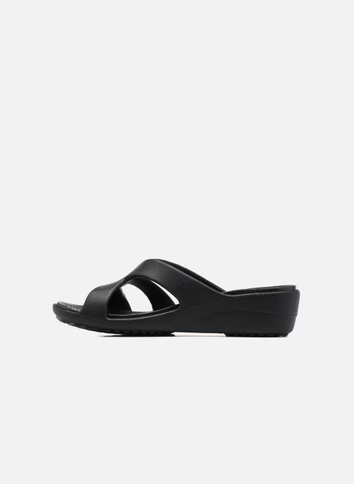 Wedges Crocs Sanrah Strappy Wedge Zwart voorkant
