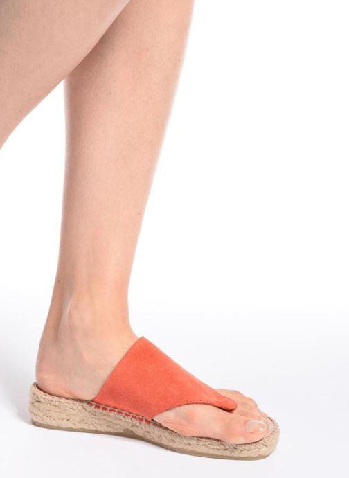 Sandales et nu-pieds La maison de l'espadrille Tong 701 Orange vue bas / vue portée sac