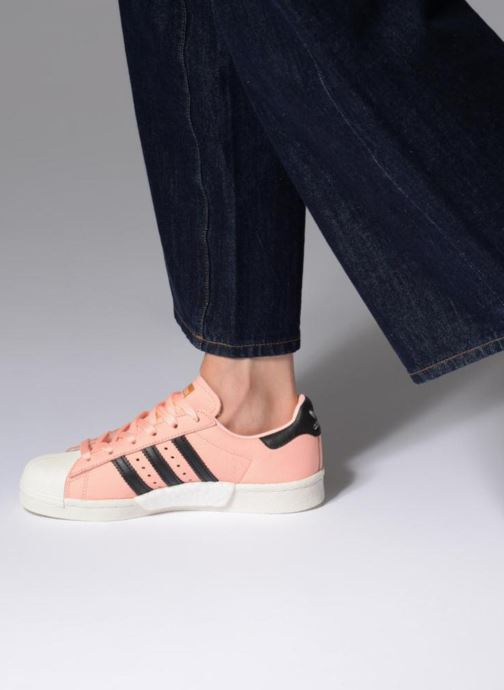Trainers adidas originals Superstar Boost W Pink view from underneath / model view