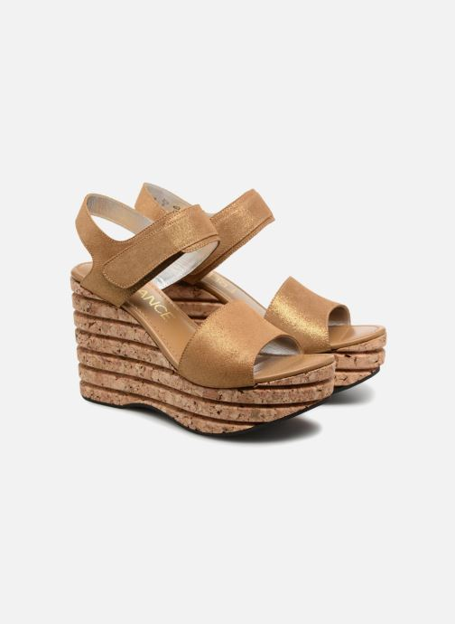 Sandals Free Lance Eny 7 Sandal Velcro Bronze and Gold 3/4 view