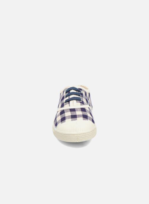 Baskets Bensimon Tennis Lacets Vichy Lin E Bleu vue portées chaussures