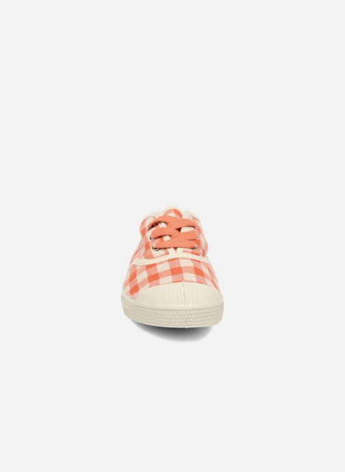 Sneakers Bensimon Tennis Lacets Vichy Lin E Arancione modello indossato