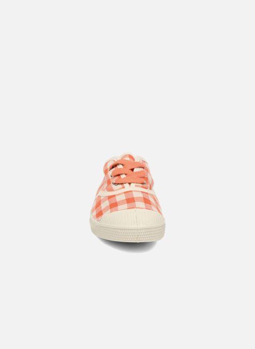 Baskets Bensimon Tennis Lacets Vichy Lin E Orange vue portées chaussures