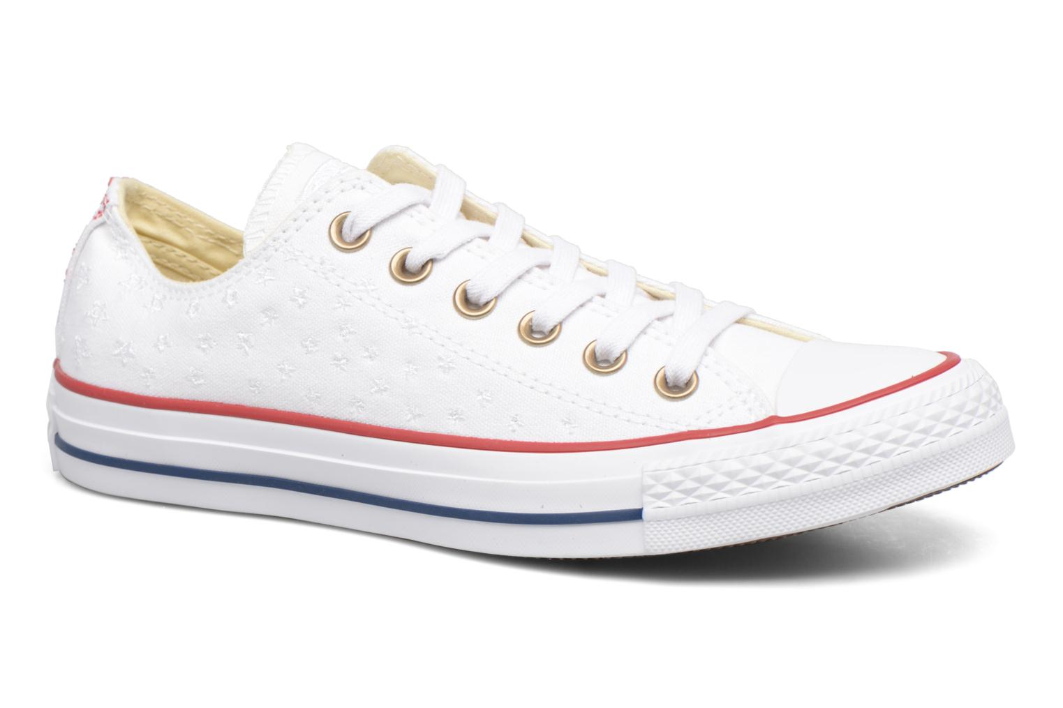 Baskets Converse Chuck Taylor All Star Ox Americana Embroidery Blanc vue détail/paire